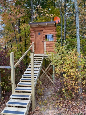 Veterans Outdoor Adventures built this tree stand in Harrison County in a day.