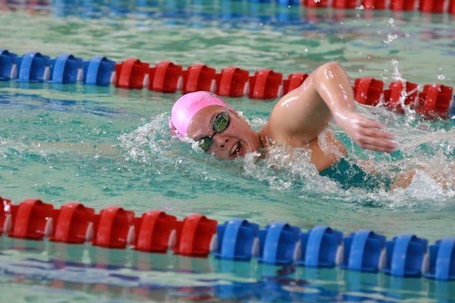 Colorado State University Pueblo women's swimmer Katy Zimmerman shows off her form during the CSU Pueblo Tri-Meet two weeks ago. [Special to the Chieftain/CSU Pueblo athletics]