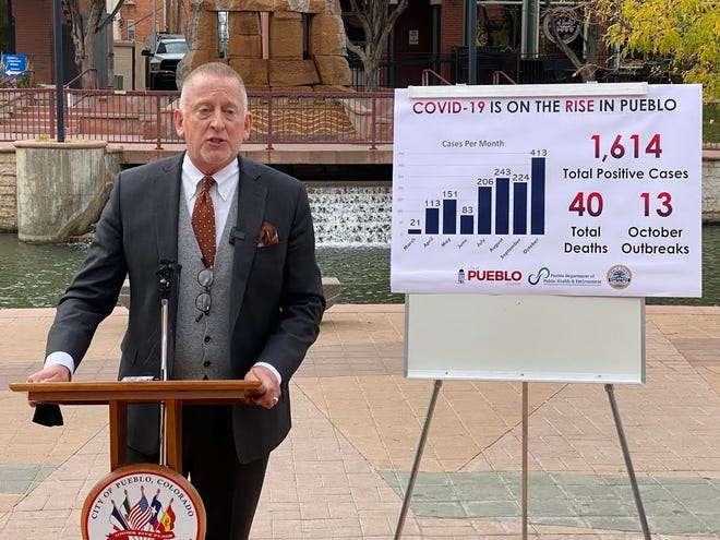 Colorado State University Pueblo President Timothy Mottet speaks during a press conference Tuesday about the rise in COVID-19 cases in Pueblo County. CSU Pueblo has put together a new plan in light of the uptick in cases. [CHIEFTAIN PHOTO/ANTHONY A. MESTAS]