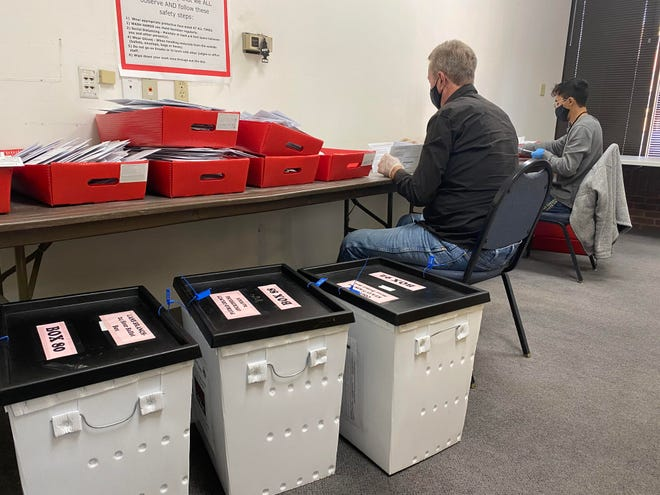 Pueblo County election judges sort ballots early Wednesday. Pueblo County voters have turned in almost 35,000 ballots two weeks before the election. [CHIEFTAIN PHOTO/ANTHONY A. MESTAS]