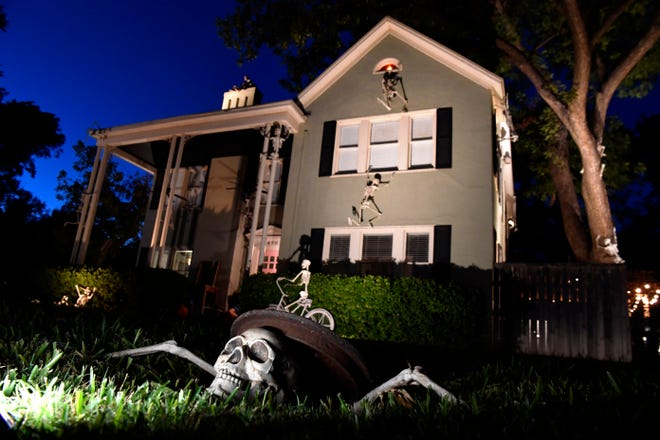 A bony brigade swarms this home in the 3600 block of Davis Drive,