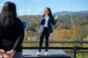 Sen. Kamala Harris, Democratic presidential candidate Joe Biden's running mate, addresses supporters at a small event on the campus of UNC Asheville on Oct. 21, 2020.