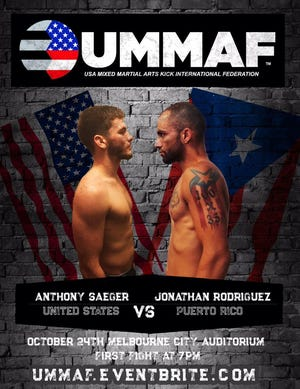 Anthony Saeger of the U.S. will take on Jonathan Rodriguez of Puerto Rico at a mixed martial arts event being held at Melbourne Auditorium on Oct. 24.