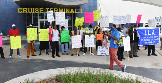 An October 21st cruise workforce rally was held by the International Longshoreman's Association and other workers at Port Canaveral in front of Cruise Terminal 1. They are rallying to get the CDC to let let the No Sail Order to expire and let the cruise industry start up again.