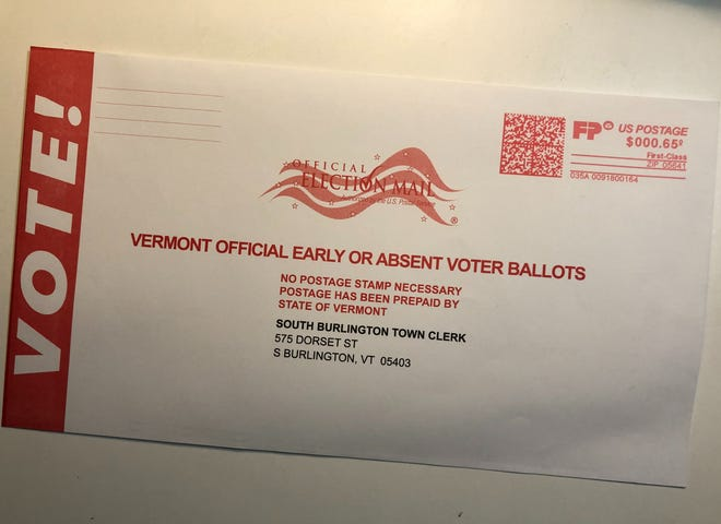 The mail-in envelope for the South Burlington ballot for the 2020 General Election.