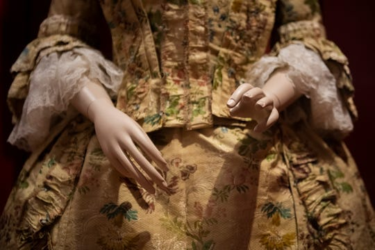 A gown belonging to Jane Sloan of Shrewsbury, N.J.(1746-1826) at the Museum of the American Revolution in Philadelphia, Pa. on Tuesday, Oct. 20, 2020.