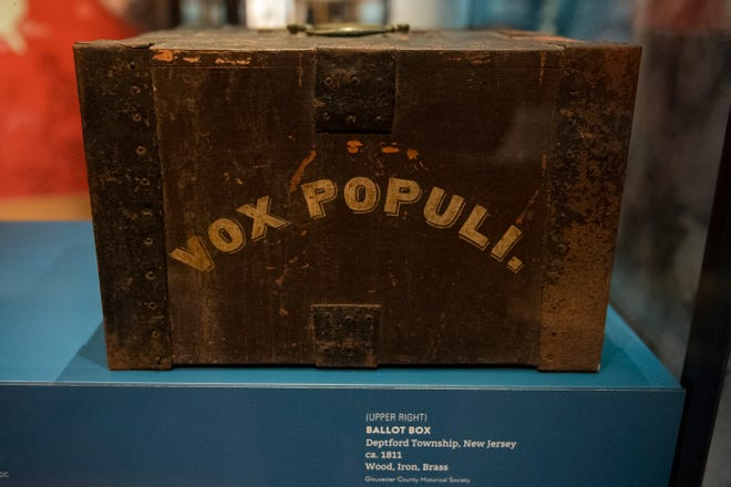A ballot box circa 1811 from Deptford Township inside the Museum of the American Revolution in Philadelphia, Pa. on Tuesday, Oct. 20, 2020.