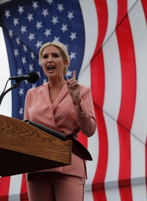 Ivanka Trump lead a rally in support of the president at Top Rocker Field in  Fort Myers Wednesday afternoon, October 21. After her speech, she greeted supporters and signed autographs.