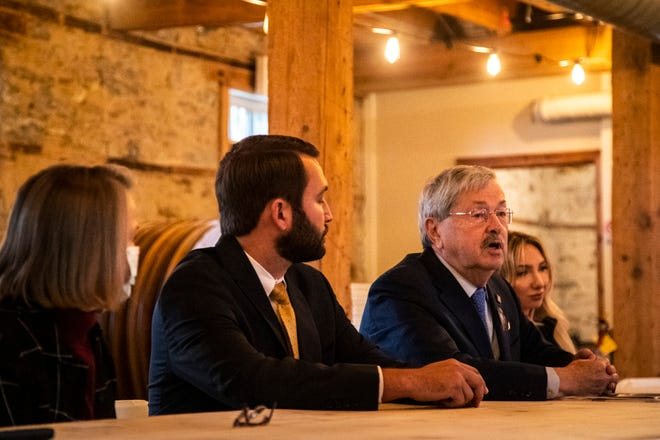 """Former Iowa Iowa Gov. Terry Branstad speaks during an event with Iowa second Congressional candidate Mariannette Miller-Meeks, Iowa Rep. Bobby Kaufmann, R-Wilton, and Andrea """"A.J."""" Catsimatidis, chair of the Manhattan Republican Party, Tuesday, Oct. 20, 2020, at the Palmer House Stable in Solon, Iowa."""