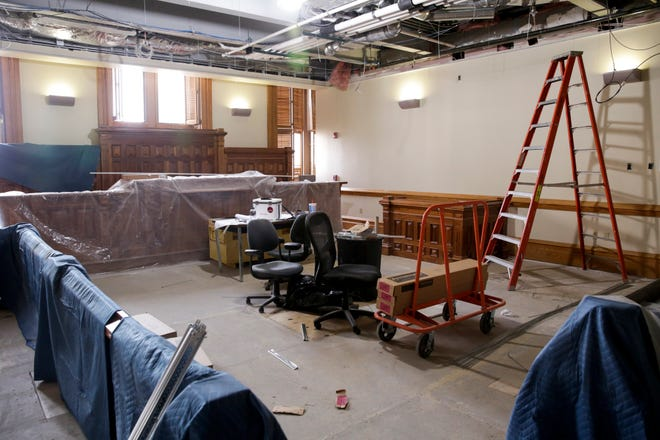 Construction continues inside Tippecanoe County Superior Court 7, Wednesday, Oct. 21, 2020 in Lafayette.