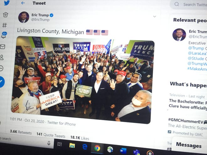 Eric Trump posted a picture on Twitter of his visit to the Livingston County Republican Party headquarters in Brighton, Tuesday, Oct. 20, 2020, as shown in this photographer from Wednesday.