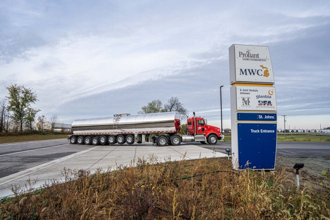A truck carrying milk arrives at MWC in St. Johns on Tuesday, Oct. 20, 2020. The 375,000 square foot cheese and whey plant is part of a $555 million dairy processing operation. The project also includes an adjacent facility belonging to Proliant Dairy Ingredients.