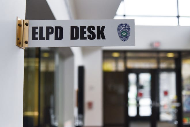The front desk at the East Lansing Police department in East Lansing.