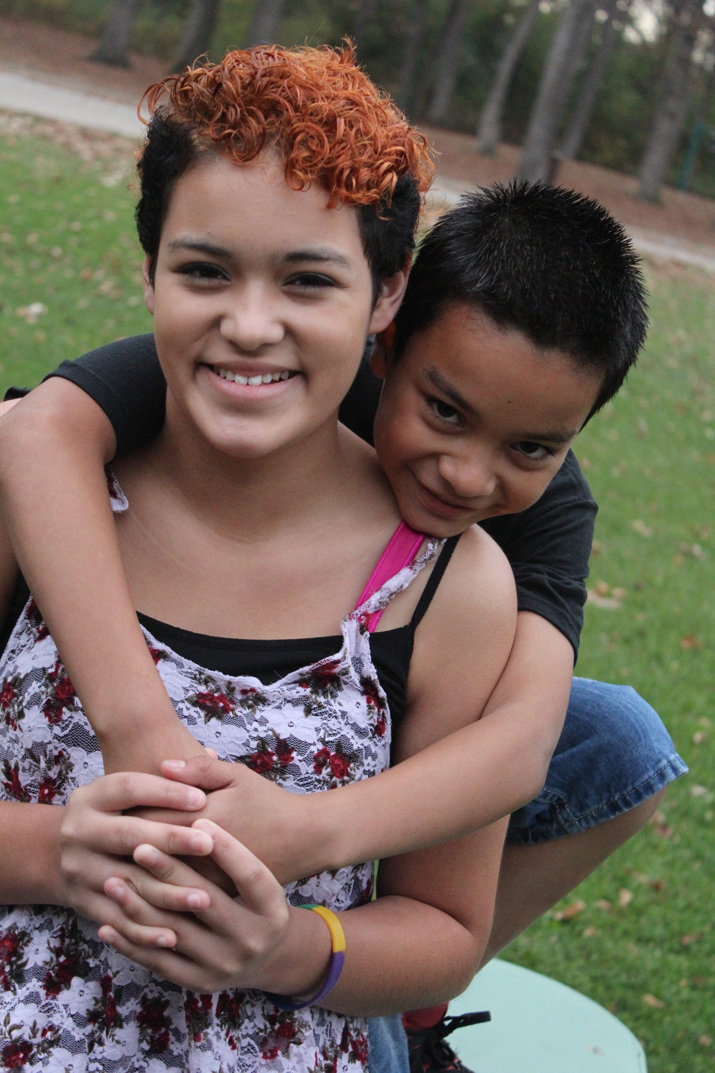 Maricella Chairez, 14, poses for photos with her brother Alejandro in July 2015.