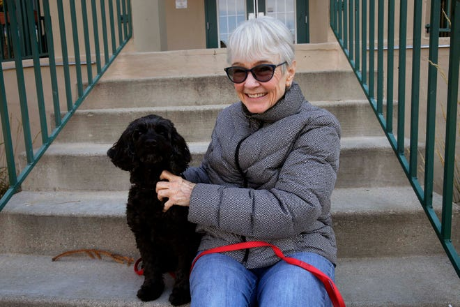Shorewood's Gail Morley, seen here with her dog Riley, took part in a program that connected artists with potentially isolated seniors for conversations in autumn 2020. Now TimeSlips is expanding its effort to reach more elders.