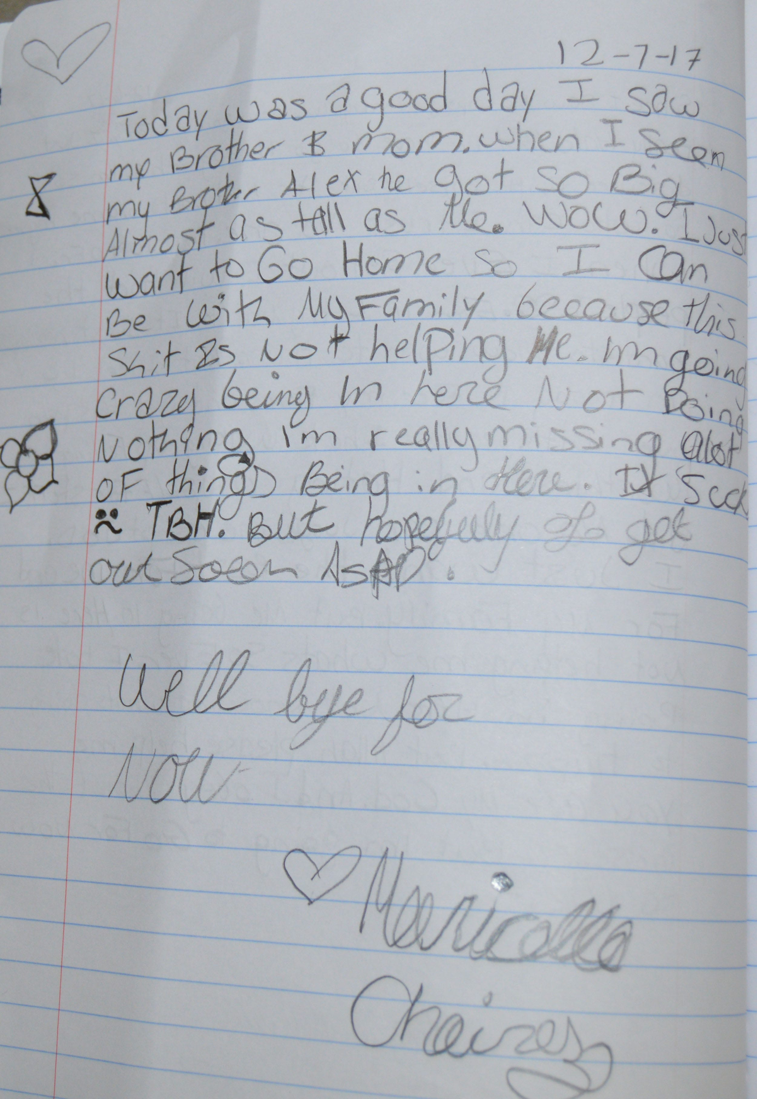 An excerpt from Maricella's journal the last day she saw her family.