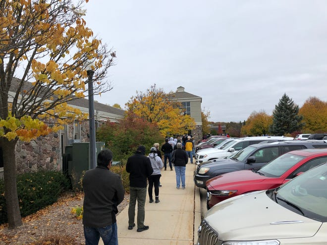 Long lines were seen outside of Brookfield City Hall on Oct. 20 for the first day of in-person absentee voting.