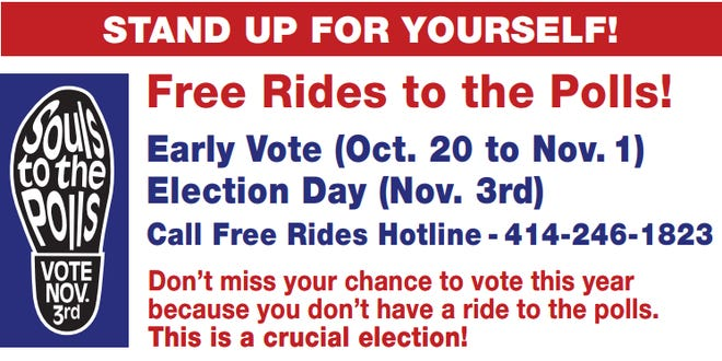 A flyer from Souls to the Polls about the new Rides Hotline.