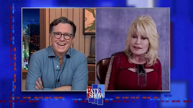 Dolly Parton sang to Stephen Colbert on Tuesday's episode of 'The Late Show.'