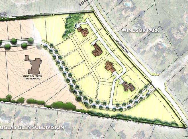 Here is where the new subdivision will go off Lewisburg Pike.