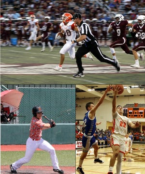 From top clockwise: Braxton McDonald runs against Belen in 2019, drives the lane against Lovington in 2020 and hits against Carlsbad in 2019. McDonald decided to forgo basketball his senior year to help deal with the scheduling conflicts due to the COVID-19 pandemic.