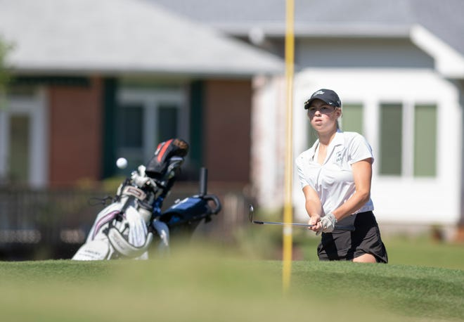 Ashley Huffman, of Ponte Vedra High School, chips onto the green during the Region 1-2A golf tournament at Tiger Point Golf Club in Gulf Breeze on Oct. 20, 2020.