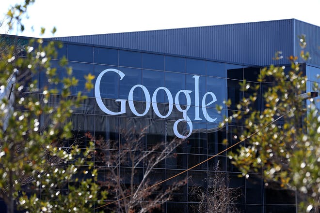 A sign is posted on the exterior of Google headquarters on January 30, 2014 in Mountain View, California.  (Justin Sullivan/Getty Images/TNS)