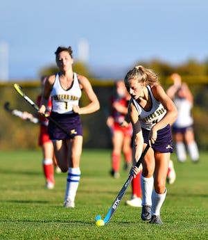 Eastern York's Rebecca Bradfield controls the ball during field hockey action against Bermudian Springs at Eastern York Senior High School in Lower Windsor Township, Wednesday, Oct. 21, 2020. Bermudian Springs would win the game 1-0. Dawn J. Sagert photo