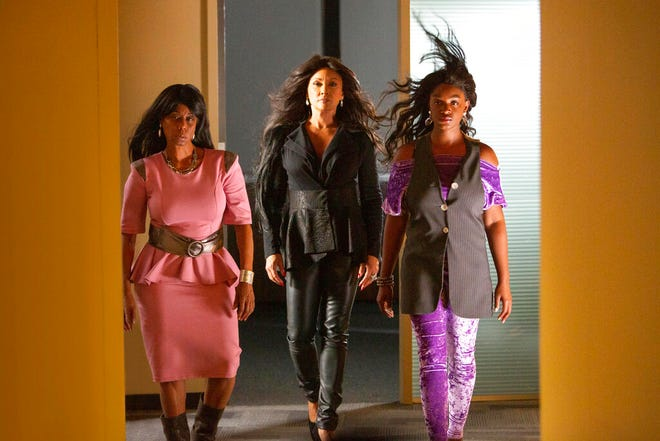 "From left, LaFaye Baker, Vanessa Williams and Yaani King Mondschein in a scene from ""Bad Hair,"" a comedy-horror about a woman trying to rise in the late-'80s music business who gets a demonic weave. The film premieres Friday on Hulu."