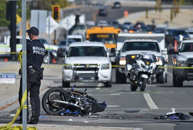 Traffic is is backed up due to a vehicle vs motorcycle on Pyramid and Roberta Lane in Sparks on Wednesday morning Oct. 21, 2020.