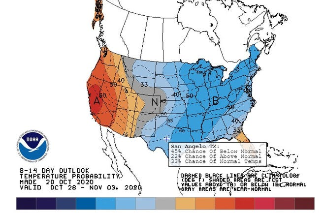 Graphic from the National Weather Service forecasting colder temps in Texas between Oct. 28 and Nov. 3, 2020.