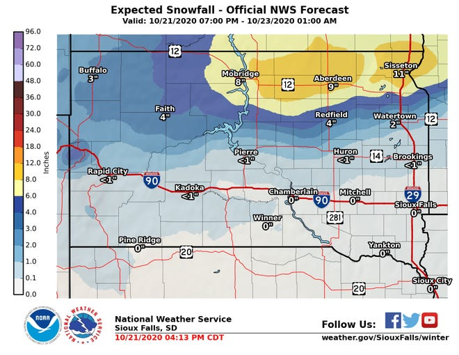 Winter storm could dump up to a foot of snow in northern South Dakota on Thursday.