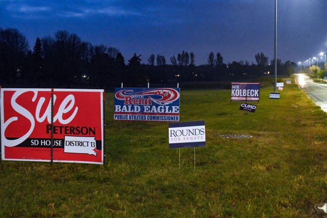 Signs supporting various political candidates line Minnesota Avenue on Tuesday, October 20, in Sioux Falls.