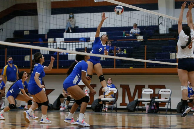 San Elizario's Desiree Morales (4) during the game against Riverside in prep volleyball Tuesday, Oct. 20, at Riverside High School in El Paso. San Elizario sweeps in 3 sets.