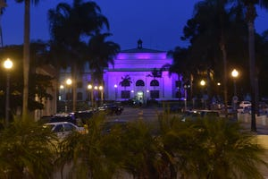 Ventura City Hall is lit with pink in honor of Breast Cancer Awareness Month. The lights come on as dusk darkens the sky over Ventura on Tuesday, Oct. 20, 2020.
