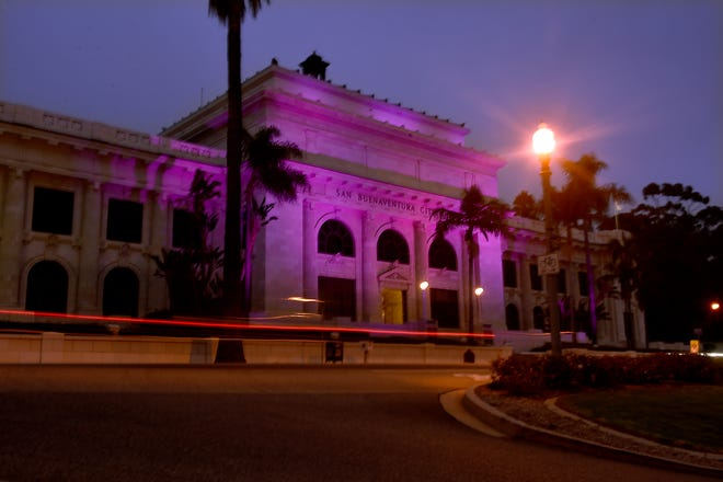 Ventura City Hall was lit pink in October, a nod to Breast Cancer Awareness Month.