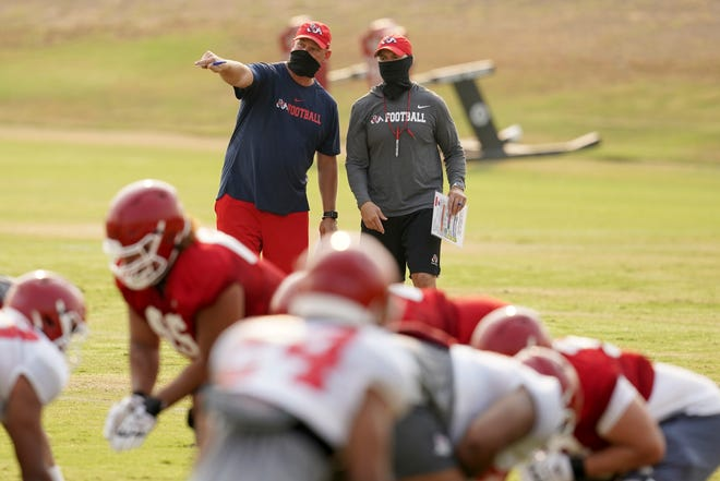 Kalen DeBoer, top left, is in his first season as the Fresno State head football coach. The Bulldogs kick off the 2020 season against Hawaii on Saturday at Bulldog Stadium.
