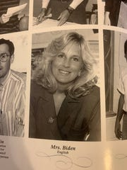 A photo of Jill Biden in a Brandywine High School Yearbook. She taught English in the year 1990s.