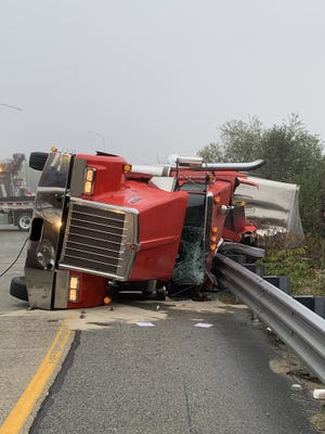 A tractor trailer overturned Monday evening, shutting down the US 421 Southbound highway in Randolph County for close to 7 hours.