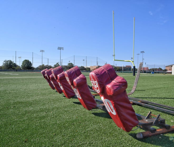 Tackle dummies on the Midwestern State University practice field awaits the return of football. On Oct. 20, 2020, the MSU Football team and the coaching staff entered a mandatory 14-day quarantine from the Wichita County Public Health Department due to COVID-19.