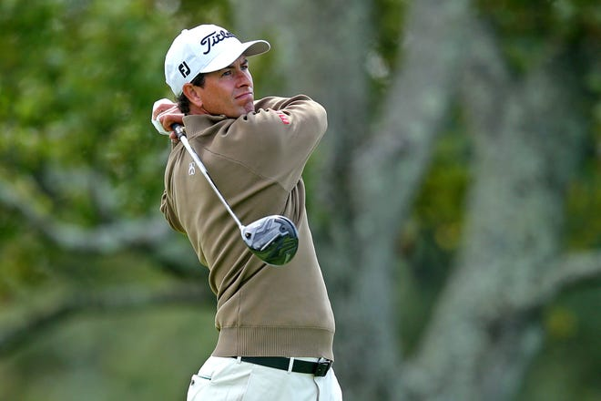 Adam Scott, pictured playing in the U.S. Open at Winged Foot, has tested positive for the COVID-19 virus and withdrew from this week's ZOZO Championship in Thousand Oaks, Calif.