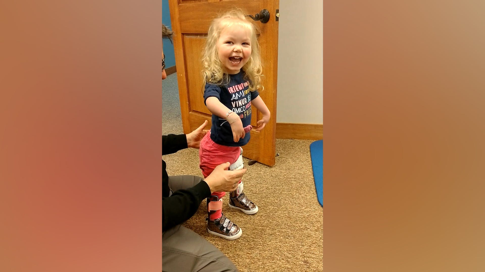 Toddler takes first steps after multiple surgeries