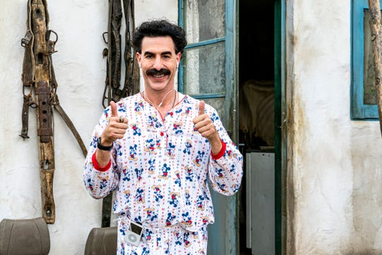 "Sacha Baron Cohen reprises one of his famous roles in ""Borat Subsequent Moviefilm."""