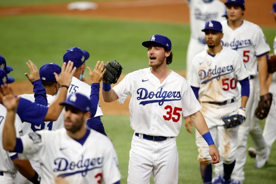 Game 1: Dodgers players celebrate after the win.
