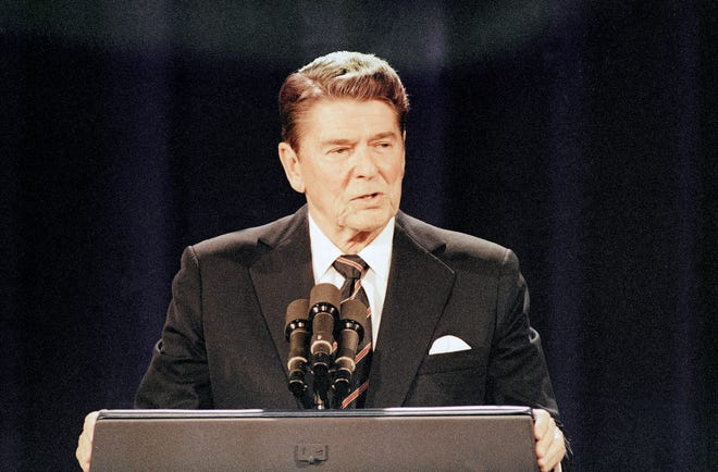 President Ronald Reagan on Oct.. 7, 1984, at a debate in Louisville, Ky.