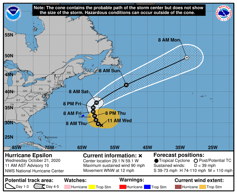 Epsilon becomes 10th hurricane of 2020 season, quickly becomes  major  Category 3 storm as it nears Bermuda