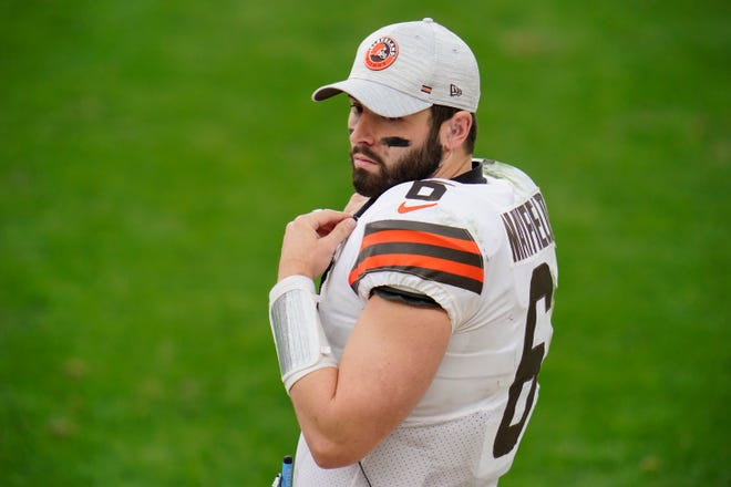 Cleveland Browns quarterback Baker Mayfield (6) during the second half of an NFL football game against the Pittsburgh Steelers, Sunday, Oct. 18, 2020, in Pittsburgh. (AP Photo/Gene J. Puskar)