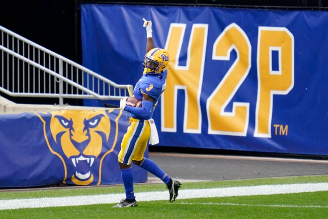 Pittsburgh Panthers wide receiver Jordan Addison (3) celebrates as he goes through the end zone after making a catch against North Carolina State in the first half of an NCAA college football game Oct. 3 in Pittsburgh.