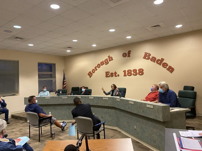 More than 100 residents showed up at Wednesday's Baden Council meeting to protest any plans to have New Sewickley Township take over the borough's police department.