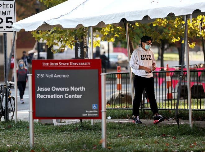 In this file photo, a student enters the Jesse Owens North Recreation Center on the Ohio State University campus for COVID-19 testing on Oct. 22.